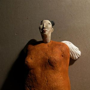 Woman, Angel in Orange, hanging sculpture, 24 cm